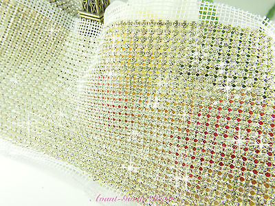Rhinestone Mesh with Diamante, Hand Stitch Sewing Crystals Trim Wedding Craft