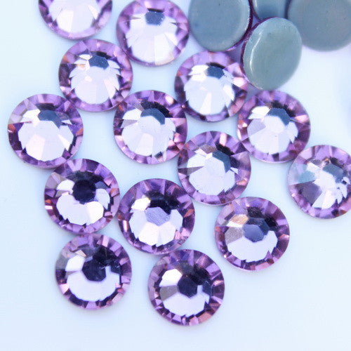 Glower® Light Amethyst Premium Hotfix Rhinestone Flat Back