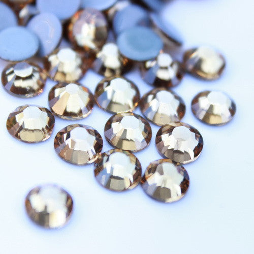 Glower® Light Colorado Topaz Premium Hotfix Rhinestone Flat Back