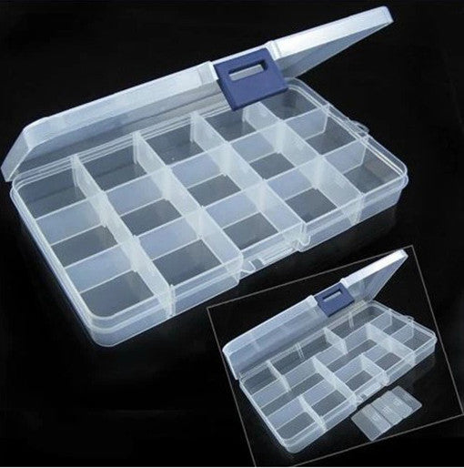 Box of 15Grid for rhinestones, Empty Plastic Container (Modulable)
