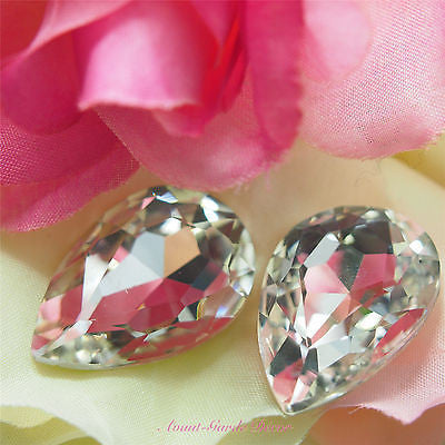 5pcs Clear Beveled Glass Rhinestones Centrepiece Crystal Gem Nail Art Craft