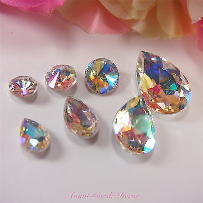 5pcs AB-Clear Teardrop Rivoli Beveled Glass Rhinestones Crystal Nail Art