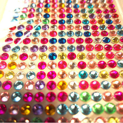 504pcs X 6mm Assorted Colours Rhinestone Gems Self Adhesive Stick on Crystals
