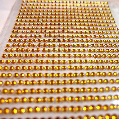 750pcs X 3mm Assorted Colours Rhinestone Gems Self Adhesive Stick on Crystals