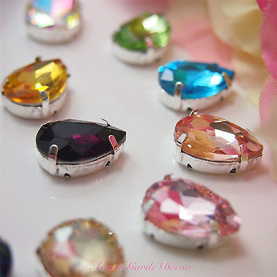 5pcs 13x18mm Teardrop Color Beveled Glass Sewing Rhinestones