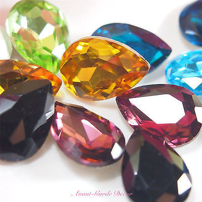 5pcs 13x18mm Coloured Beveled Glass Rhinestones