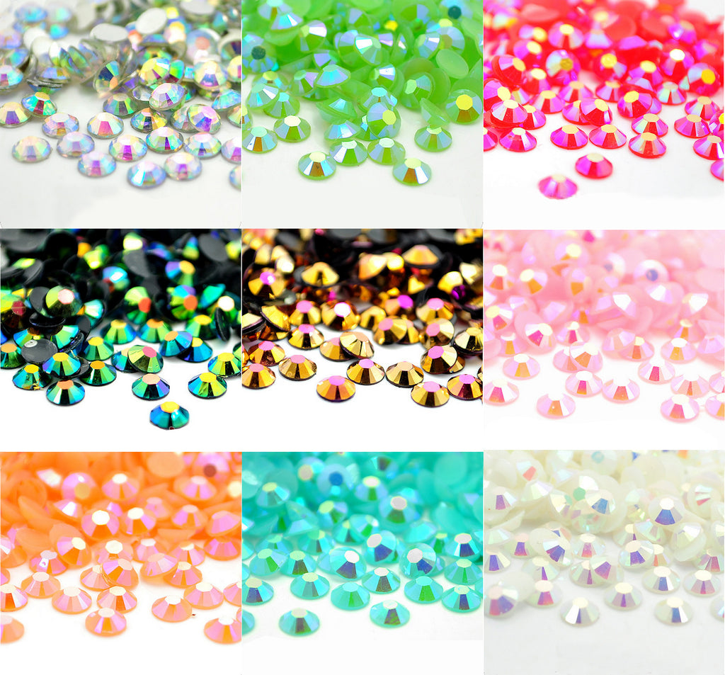 MIXED COLOUR AB FLAT BACK RHINESTONES