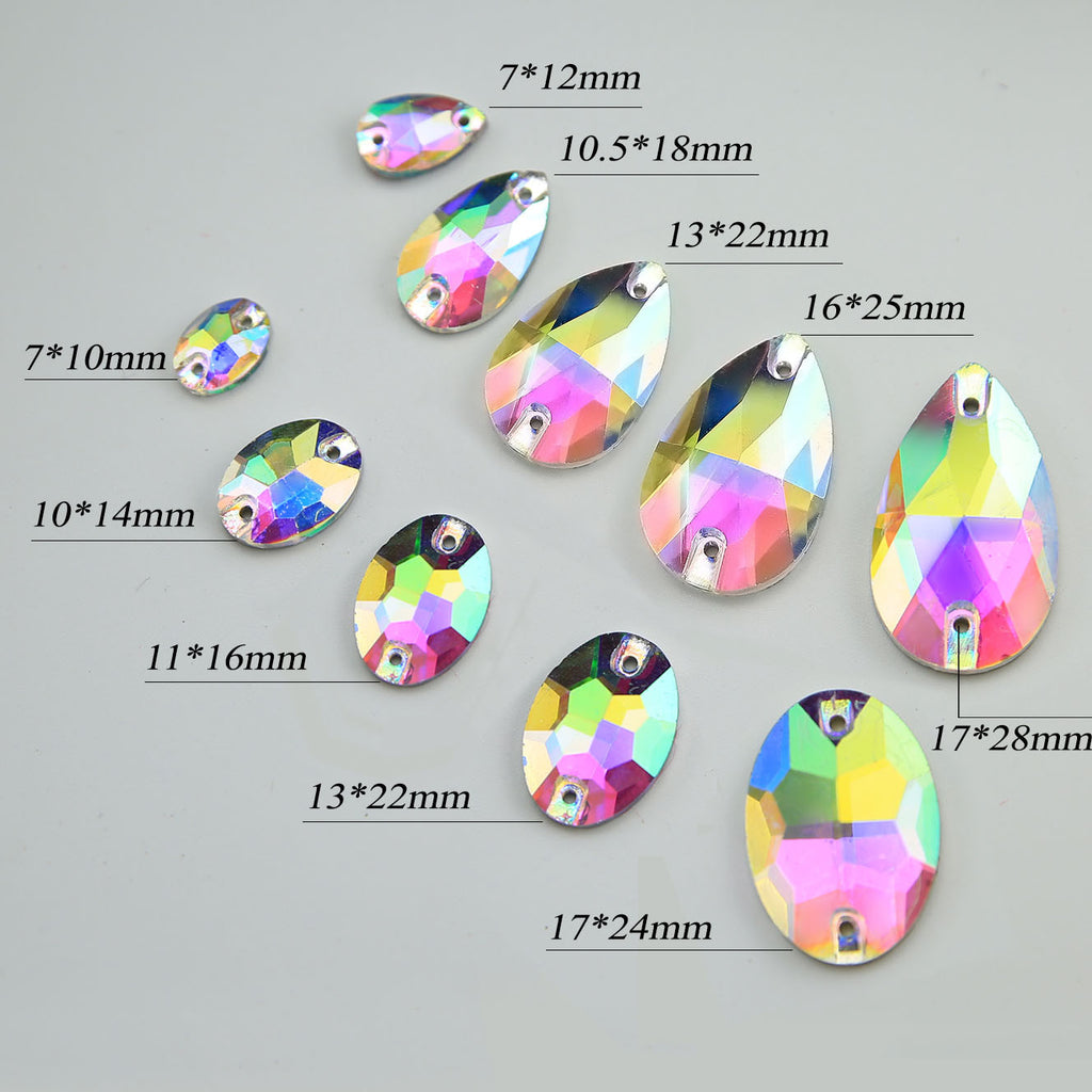AB-Crystal Sew-on Rhinestones Flat Back Crystal Decoration