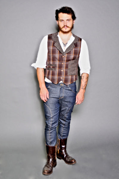 Brown Plaid & Tweed Lapel Vest