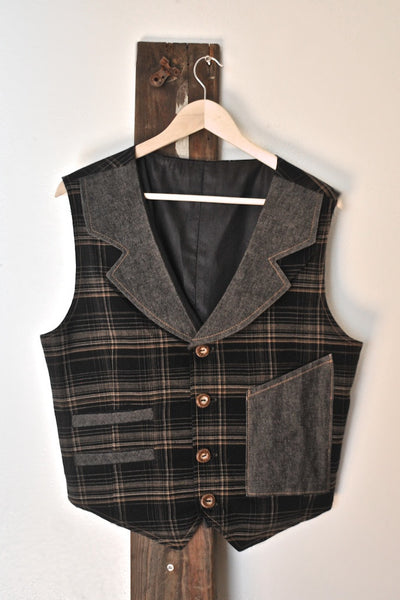 Black Plaid and Denim Lapel Vest