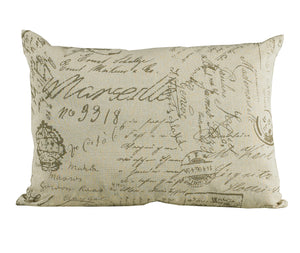French Script Linen Pillow