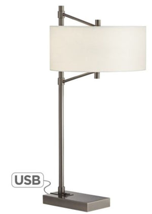 Gun Metal Table Lamp with USB