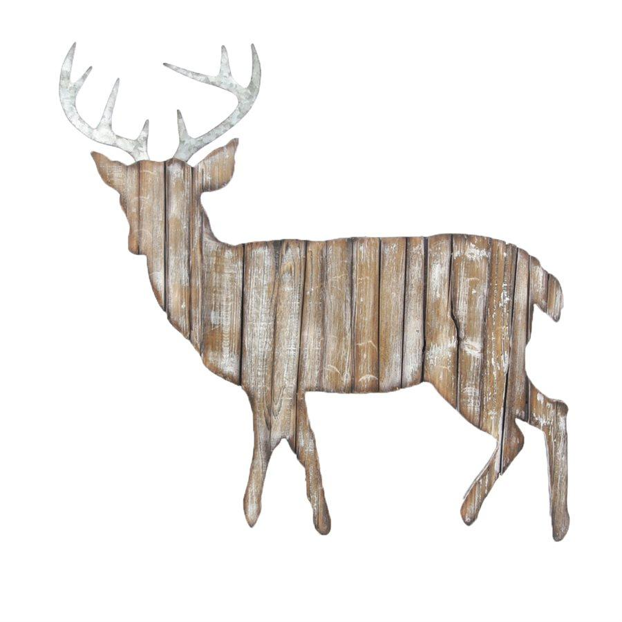 Wood & Metal Deer Cut Out Wall Hanging