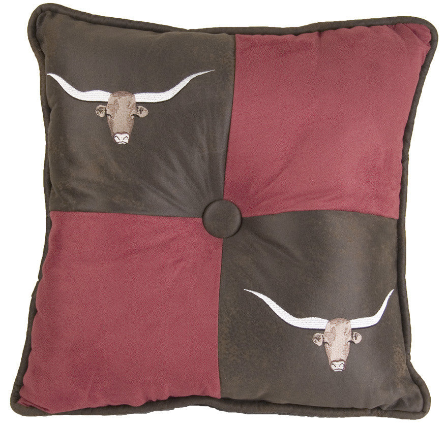 Longhorn Embroidered Pillow
