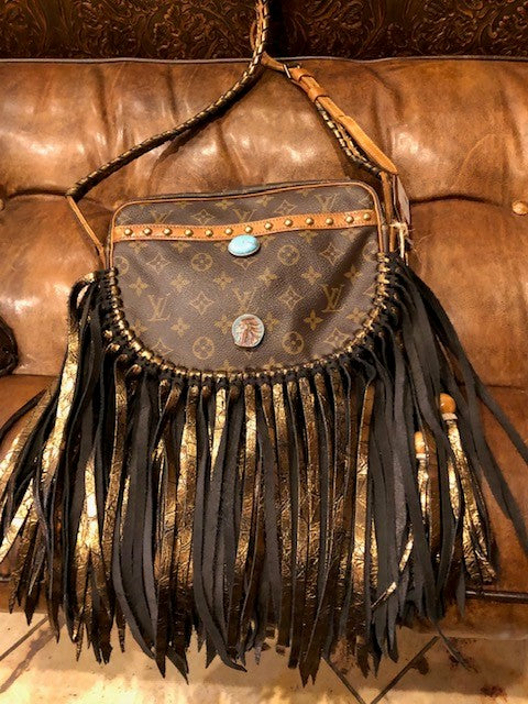Big Turquoise Fringe Purse