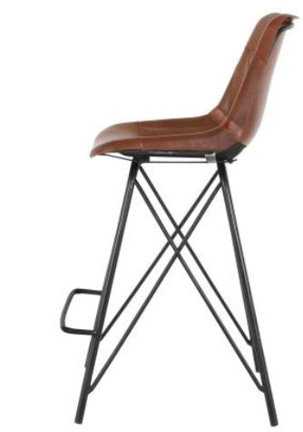 Ale brown Leather Counter Stool