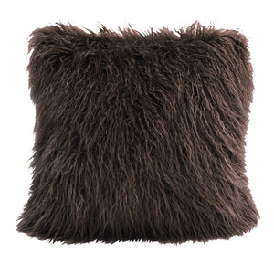 Chocolate Mongolian Lamb Fur Pillow