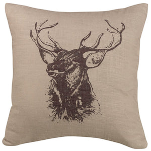 Elk Faux Linen Pillow