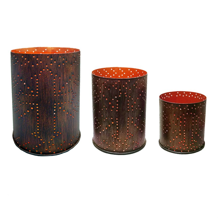 Distressed Metal Cylinder Candle Holder Set