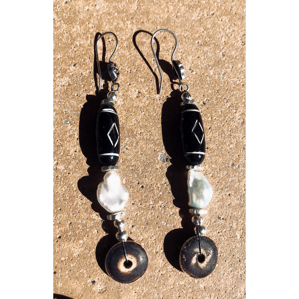 Polished Black Bone & Freshwater Pearl Jewelry
