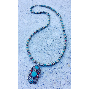 Turquoise & African Beads Necklace