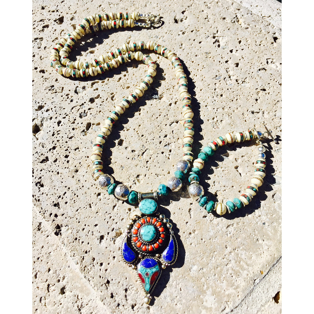 Turquoise, Lapis & African Beads Necklace