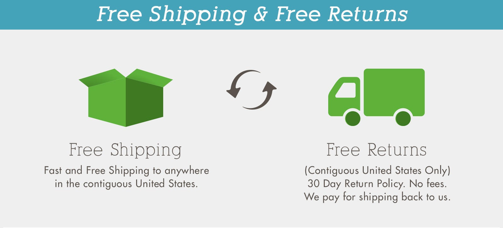 Free Shipping and Returns. Both Ways!