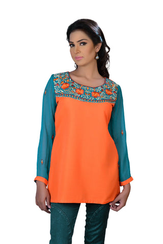 Orange Raw Silk Women's Tunic