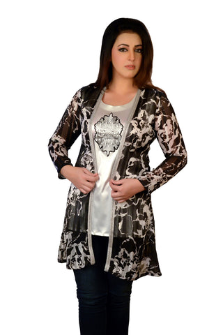 Women's Top White Silk Blouse with Chiffon Cardigan Kurti Tunic