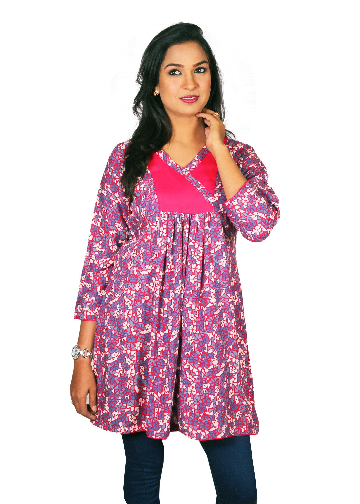ea1ae763aeea Women s Gathered Red   Purple Paisley Linen Tunic - EasternThings.com