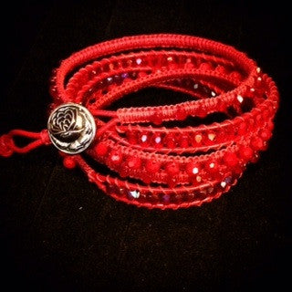 Handmade leather wrap bracelet Red 5 wrap