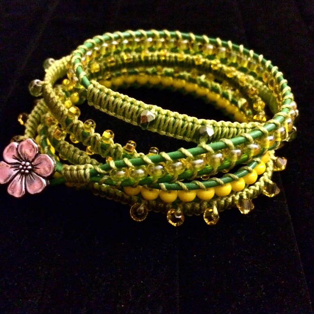 Handmade leather wrap bracelet Green/Yellow 5 wrap