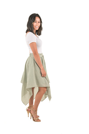 Ava Seafoam Green Wrap Linen Skirt