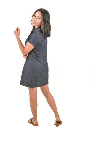 Dark Blue Denim Mini Dress - Boutique Amore