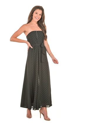 Strapless Polka Dot Jumpsuit - Boutique Amore