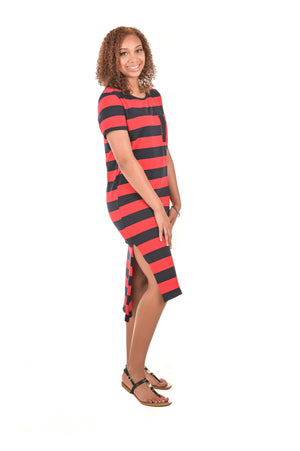 Sofia Short Sleeve Striped T-Shirt Dress