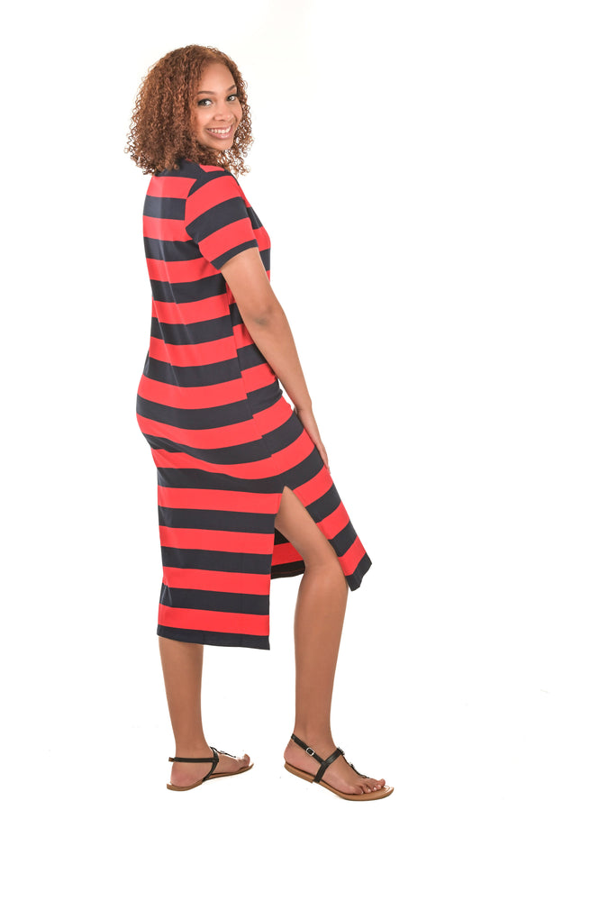 Sofia Short Sleeve Striped T-Shirt Dress - Boutique Amore