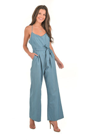 Destiny Denim Jumpsuit - Boutique Amore