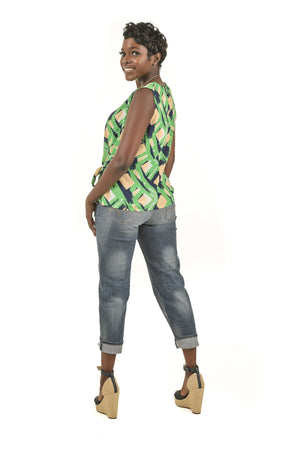 Green Print Tie Knot Top