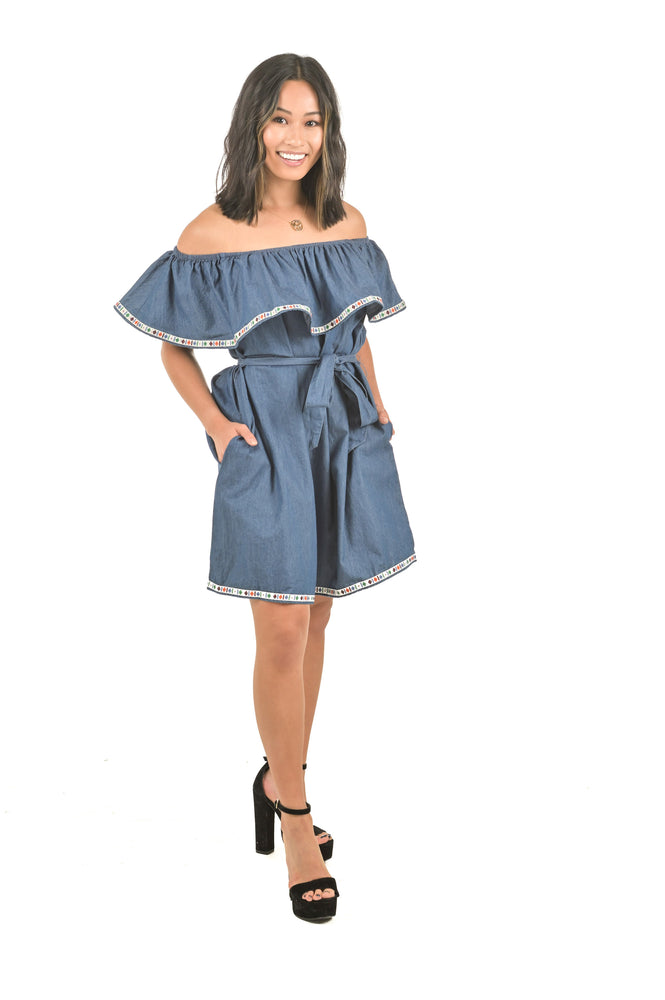 Denim Ruffle Off-Shoulder Blue Dress with Waist tie