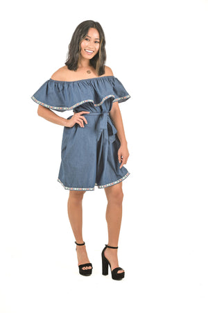 Denim Ruffle Off-Shoulder Dress with Waist tie