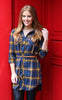 Plaid Button-Down Tunic with Belt