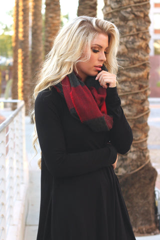 Oversized Plaid Blanket Scarf | Burgundy/Black