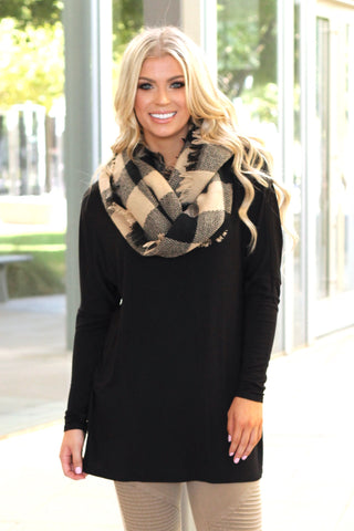 Woven Plaid Infinity Scarf | Black/Beige