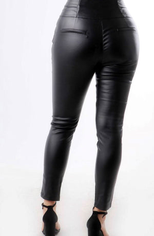 3-Button Faux Leather Pants