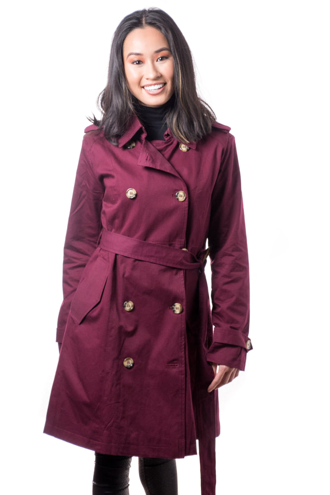Misty Mid-length Trench Coat- Burgundy - Boutique Amore