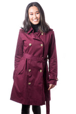 Misty Mid-length Trench Coat- Burgundy