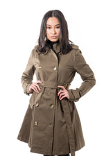 Misty Mid-length Belted Trench Coat- Olive