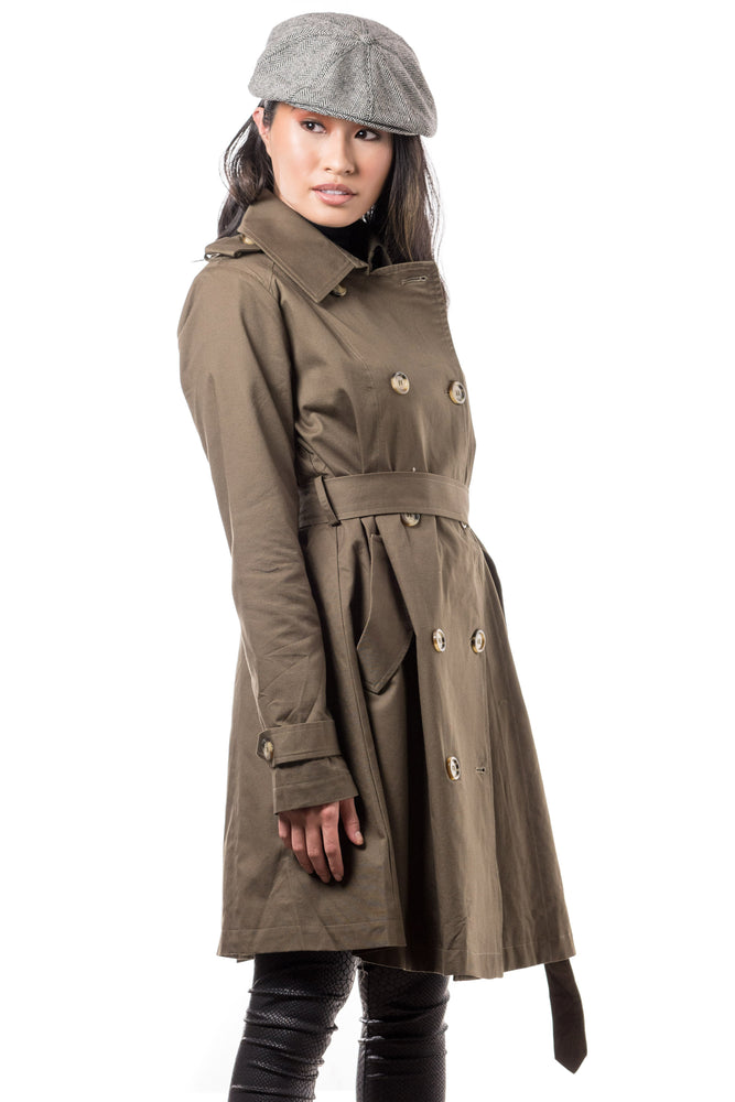 Misty Mid-length Belted Trench Coat- Olive - Boutique Amore