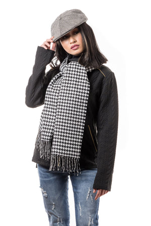 Black and White Houndstooth Cashmere Scarf - Boutique Amore